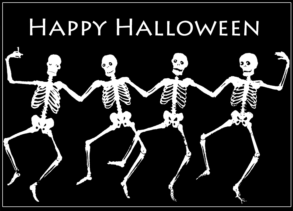 halloween greeting cards skeletons