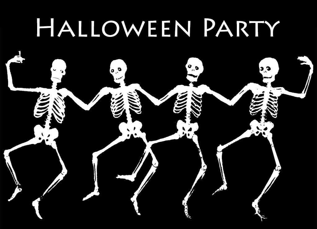 Halloween greeting cards dancing skeletons