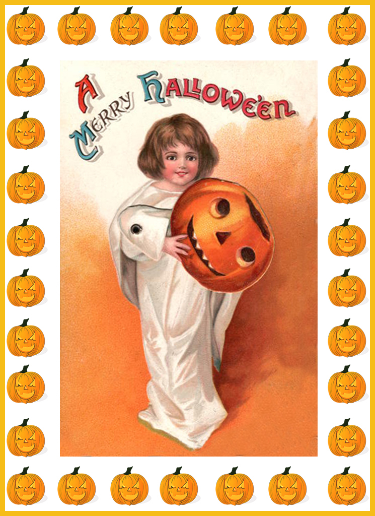 Halloween card with girl and pumpkins