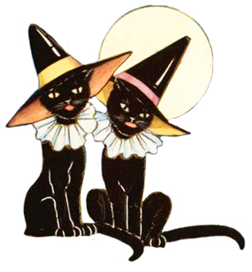 black witch cats and moon