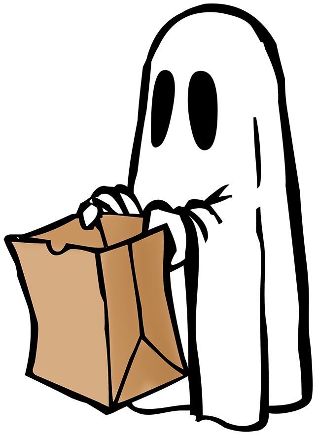sketch halloween ghost with bag for trick or treat