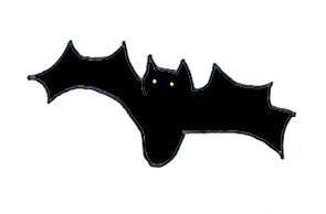 Halloween bat yellow eyes