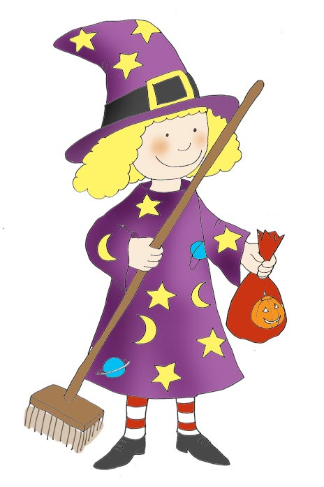 halloween clip art witch with broom