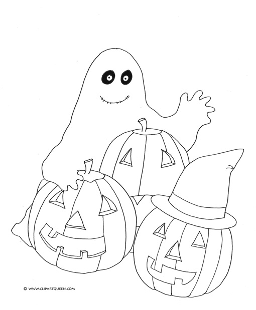 Pumpkin coloring pages and ghost for Halloween