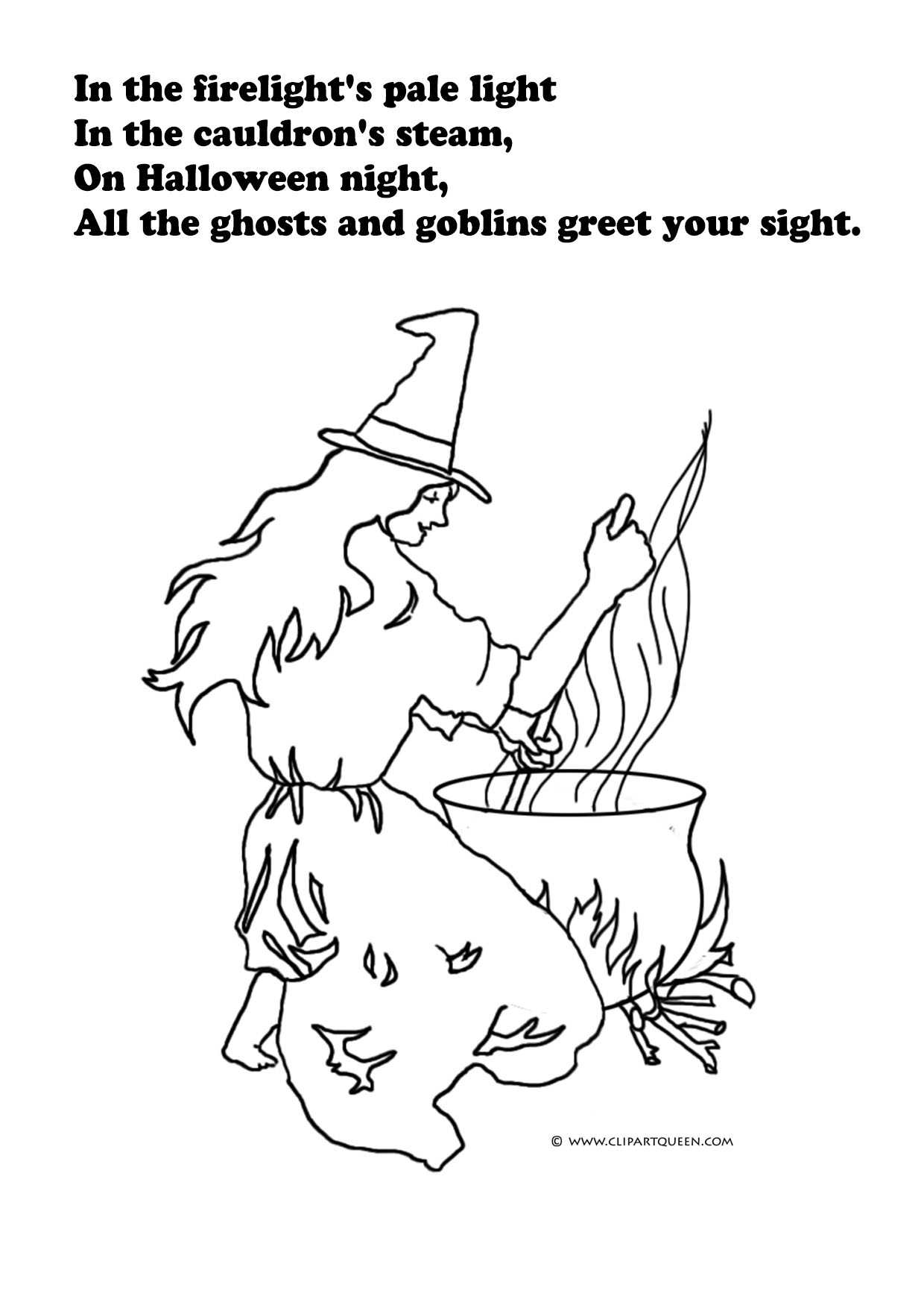 Halloween coloring sheet with witch and cauldron