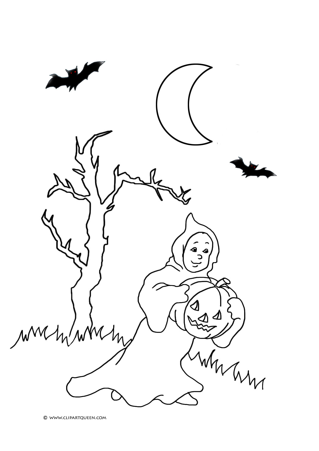 halloween coloring page ghost bats pumpkin