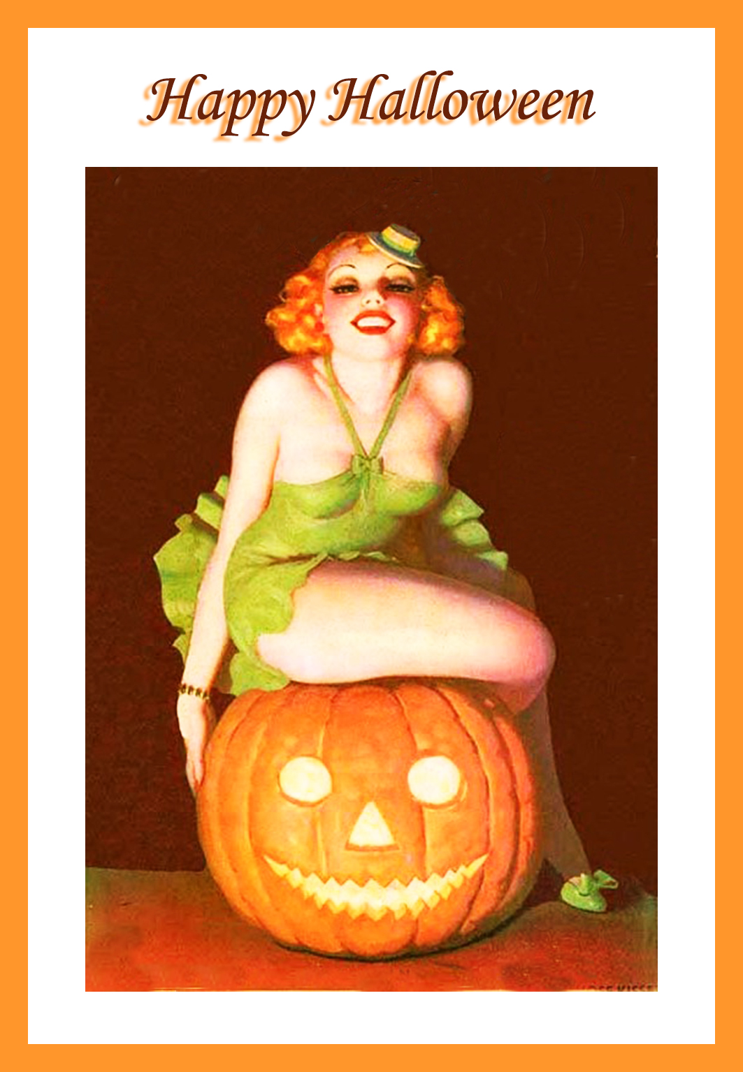 Halloween girl on pumpkin