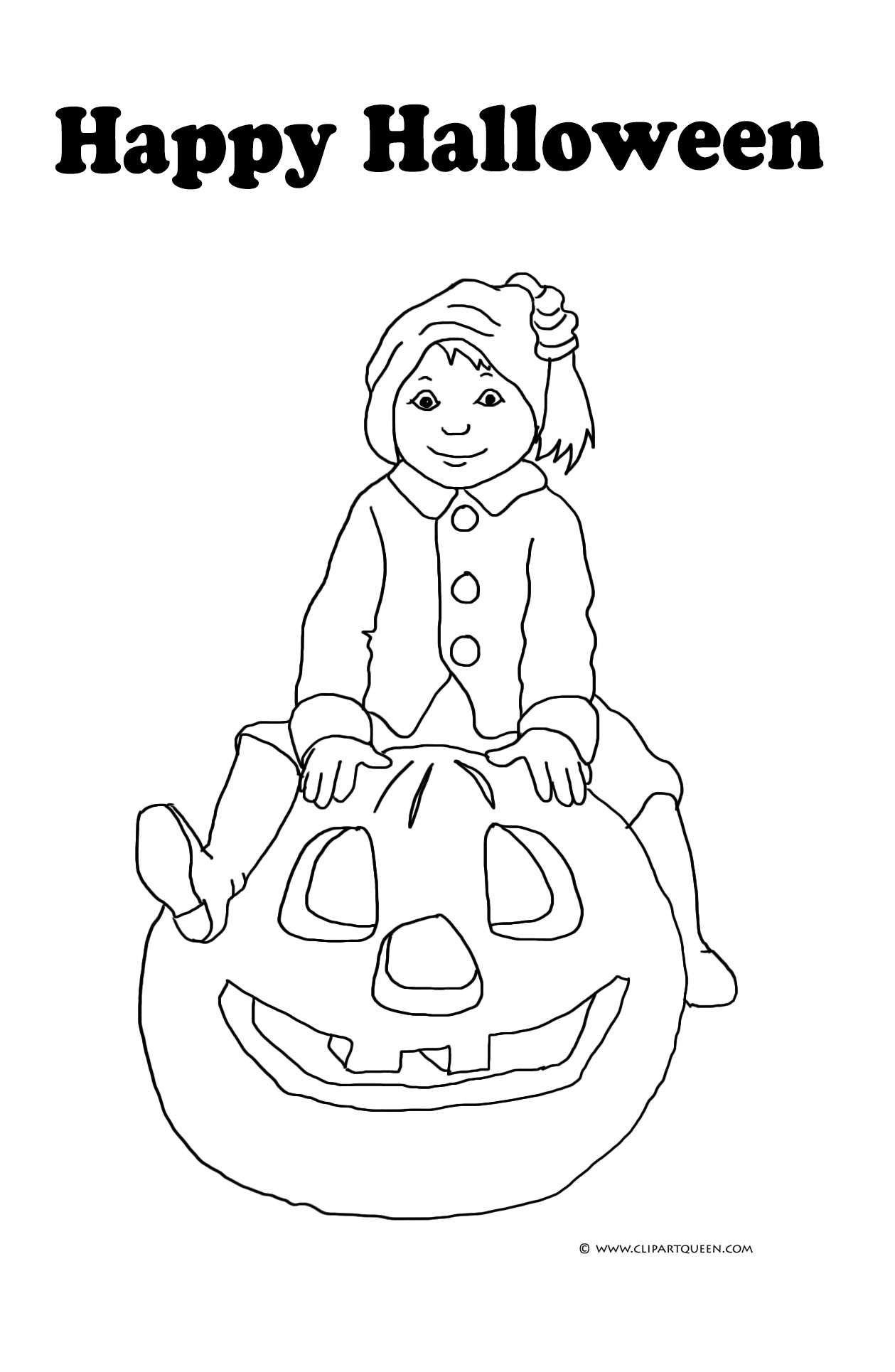 halloween card with boy and pumpkin