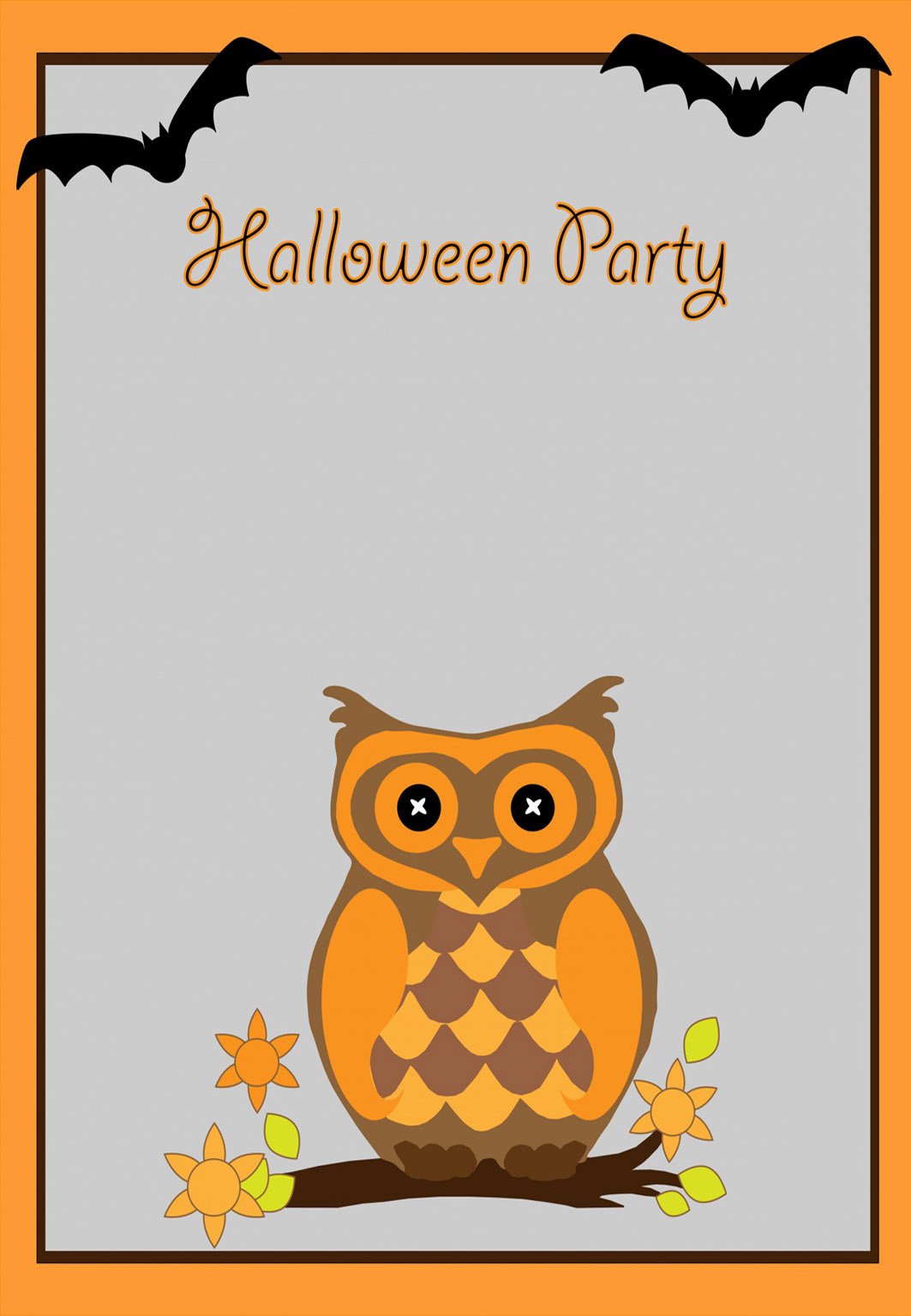 halloween invitation with owl