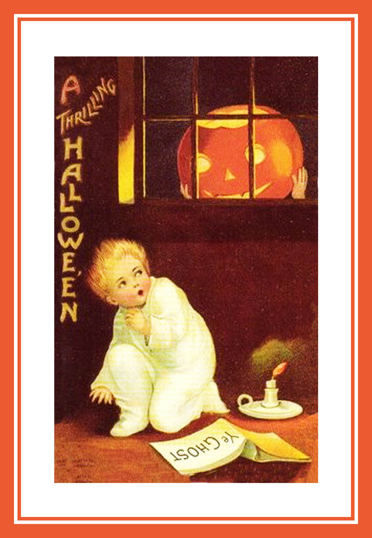 Halloween Postcard With Spooked Boy Pumpkin Head