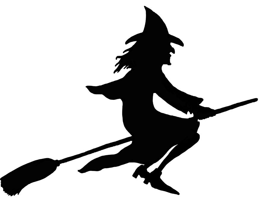 Halloween witch on broom silhouette