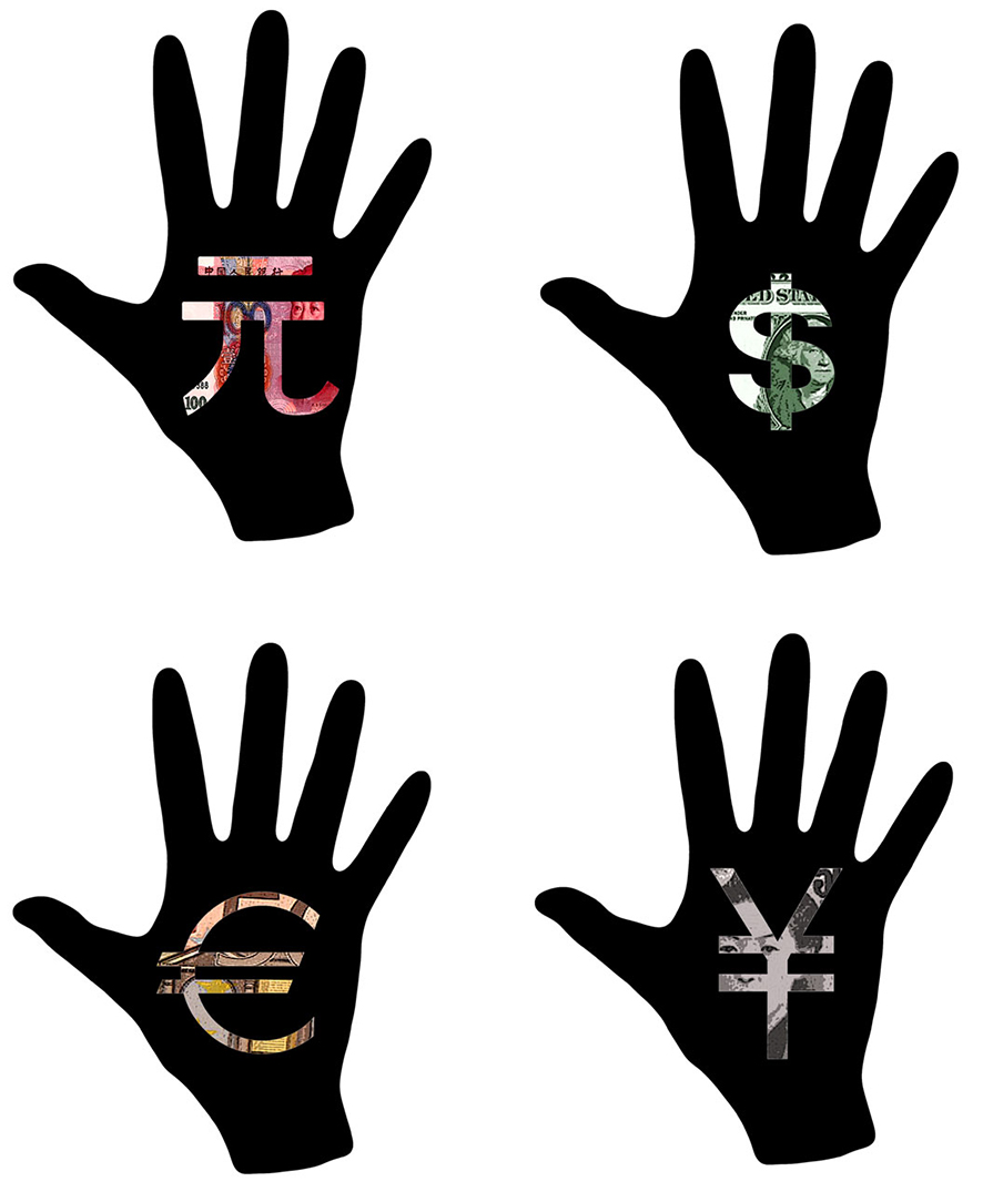 hand silhouettes with money symbols