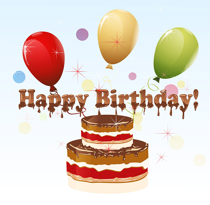 Clip art of happy birthday cake