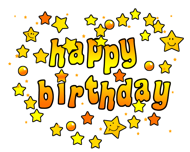 Birthday clip art with text stars and heart shape