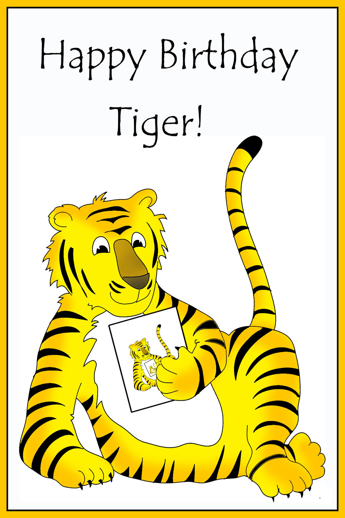 printable birthday card with a tiger for kids