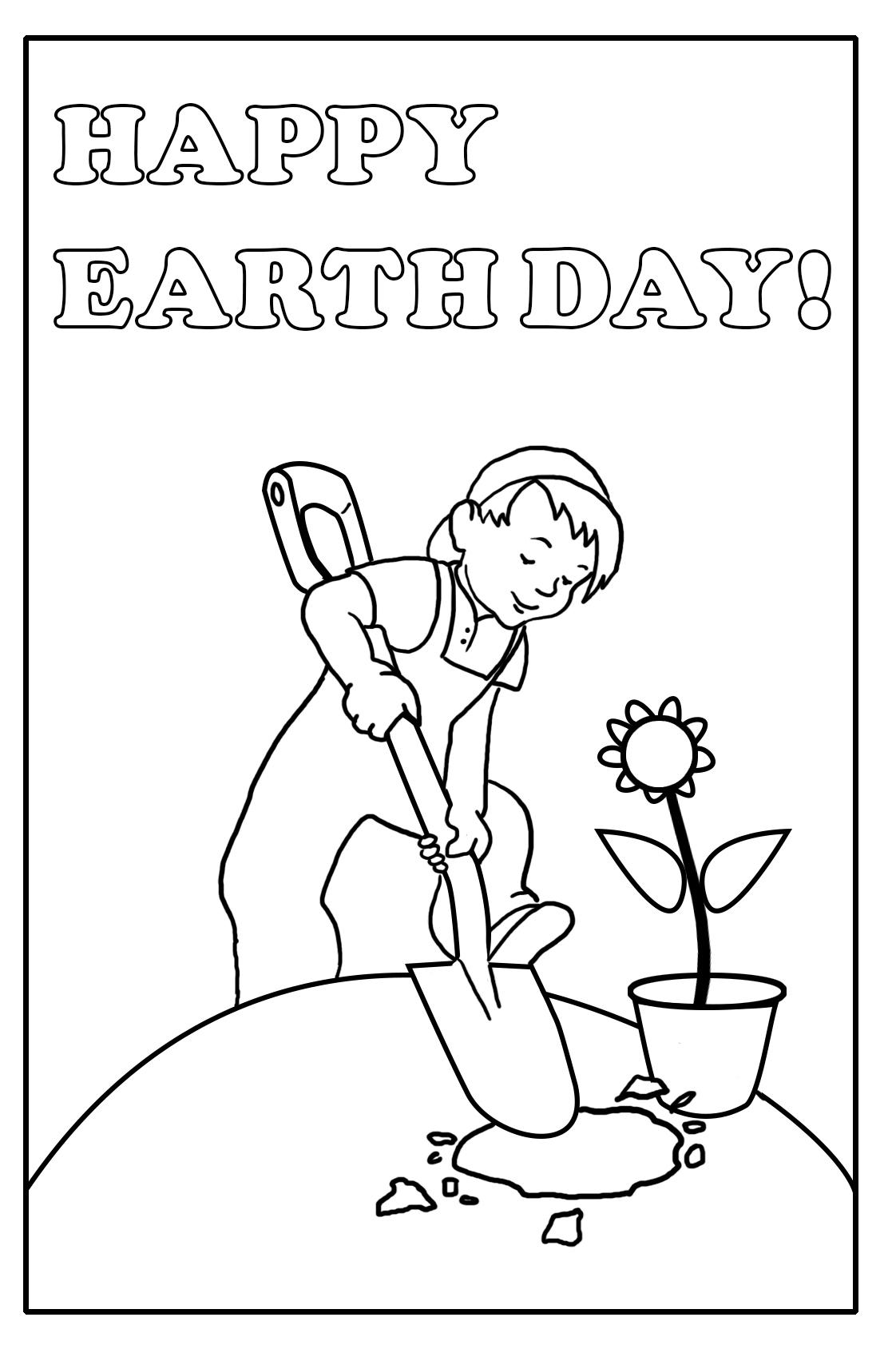 Happy Earth Day boy planting flower