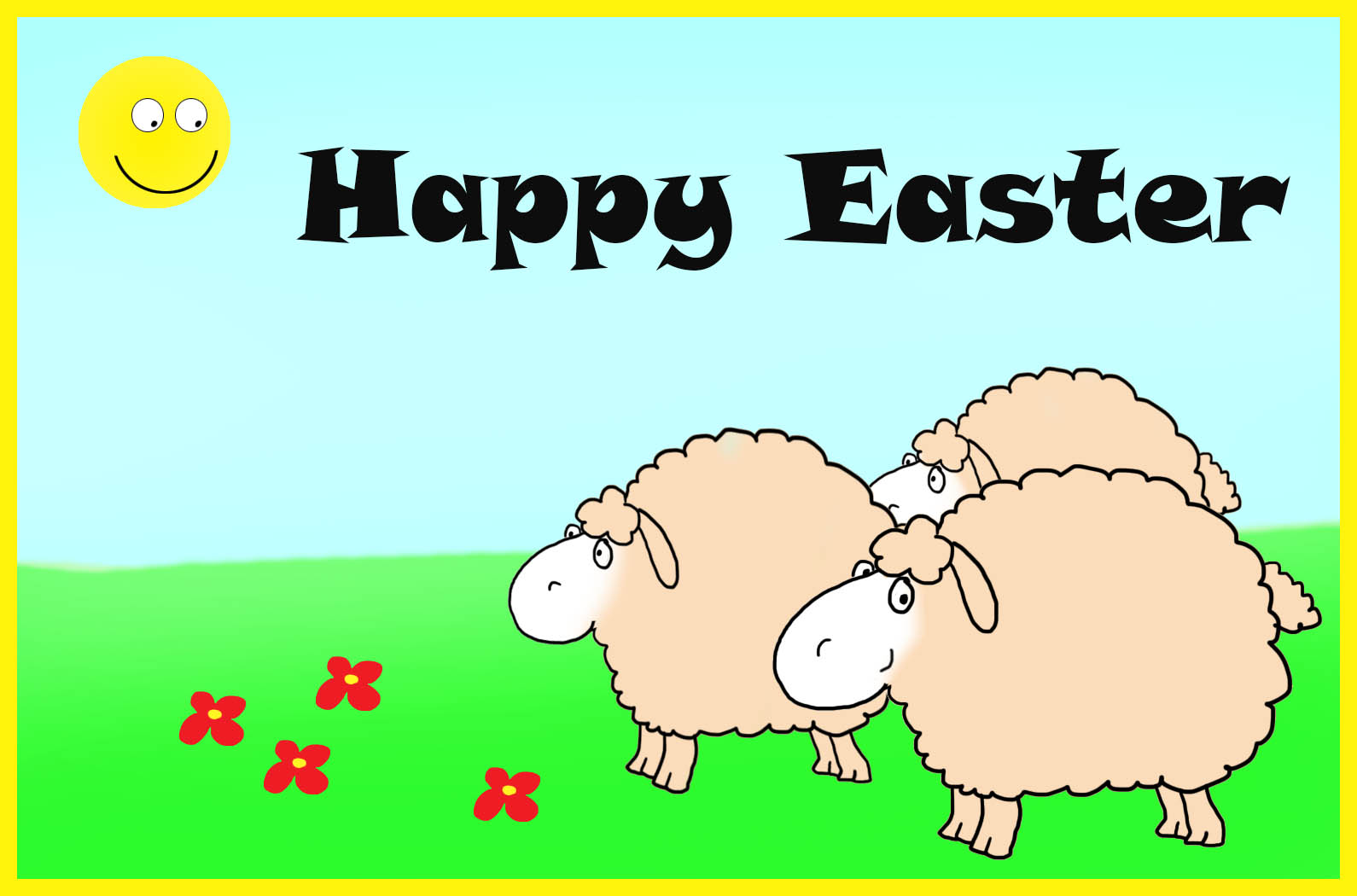 Happy Easter card with sun and sheep
