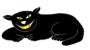 Smiling halloween black cat