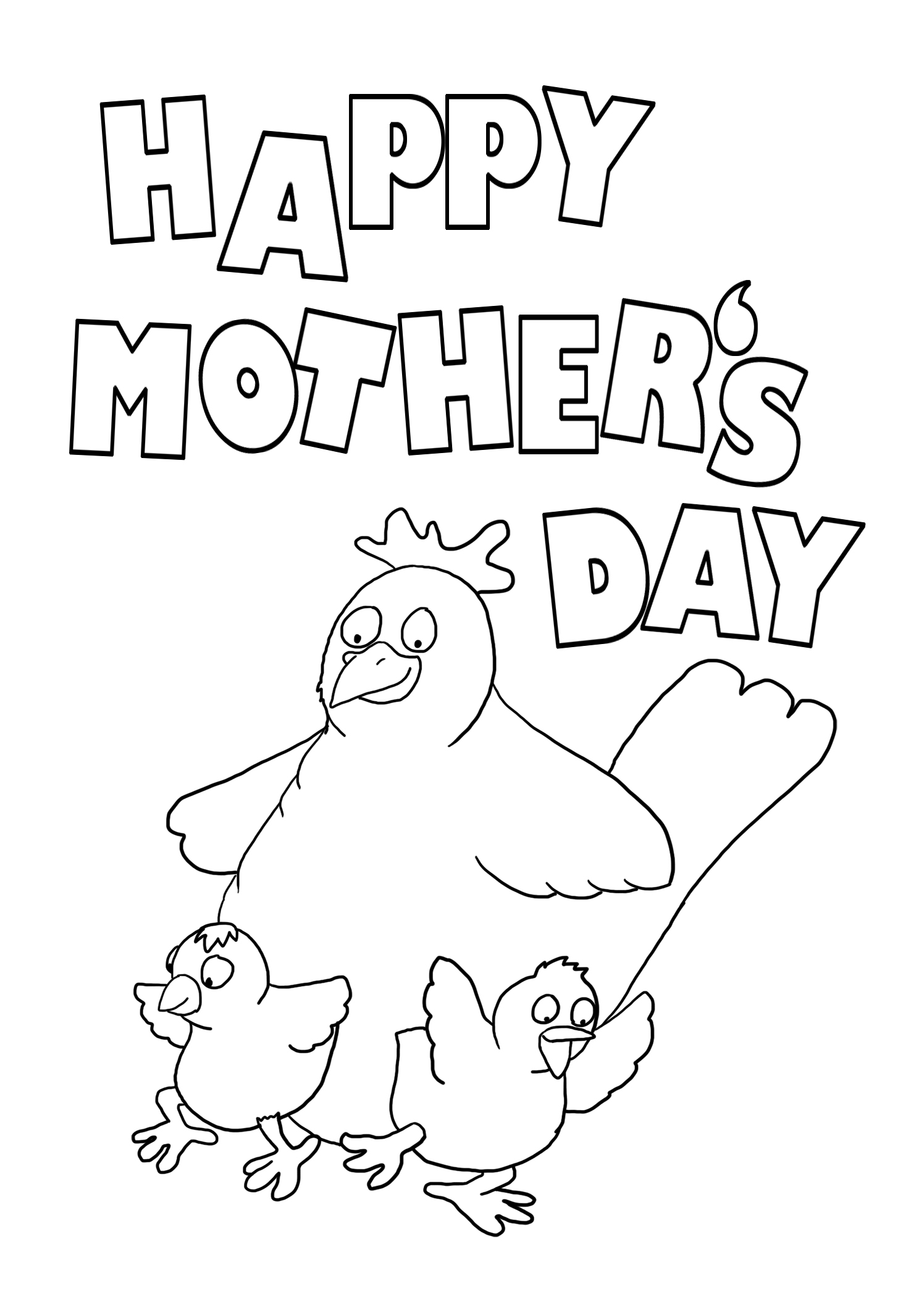 Mother's day coloring page with hen and chicken
