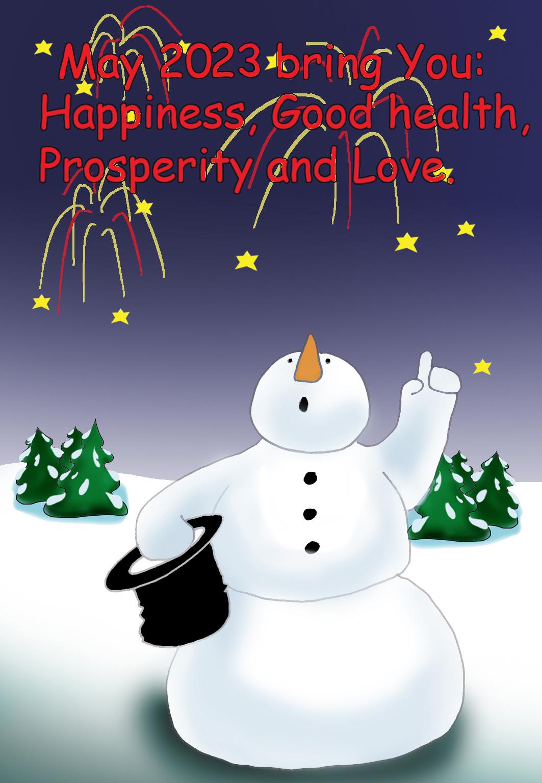 snowmen and firework New Year