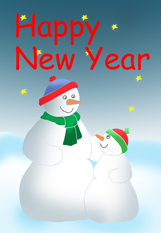Happy New Year card snowman and snowchild