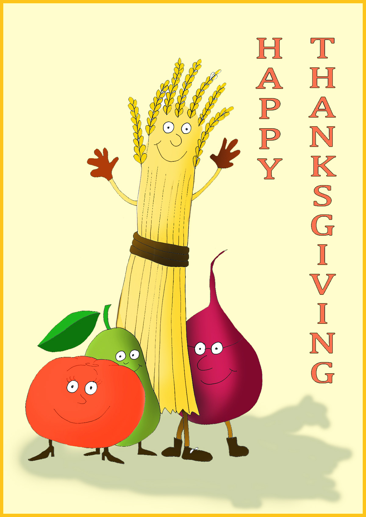 Happy thanksgiving cards and thanksgiving poems happy thanksgiving card with live vegetables kristyandbryce Choice Image