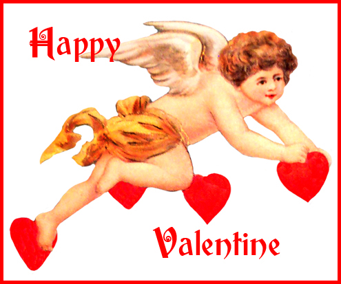 Valentine cupid with red hearts greeting