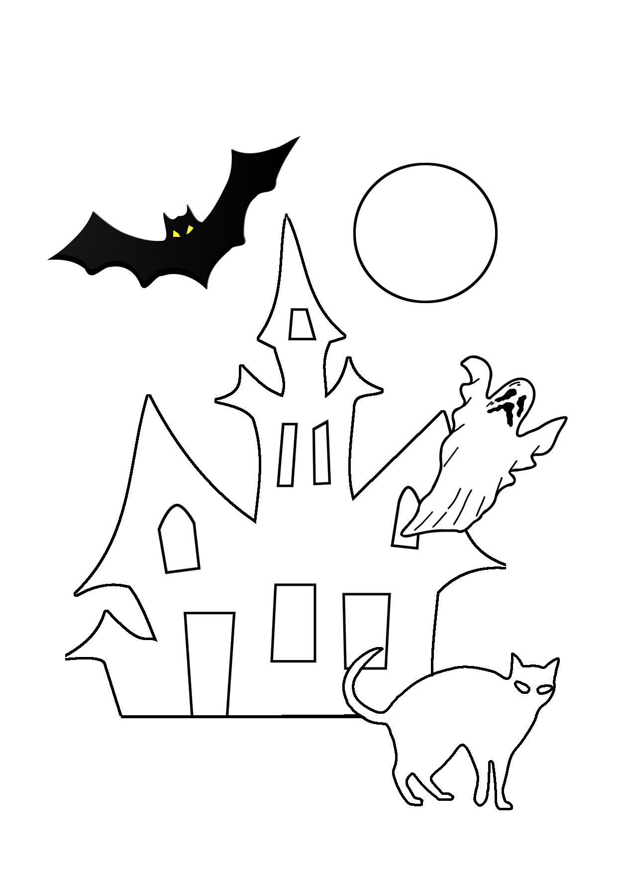 haunted hose ghost moon bat
