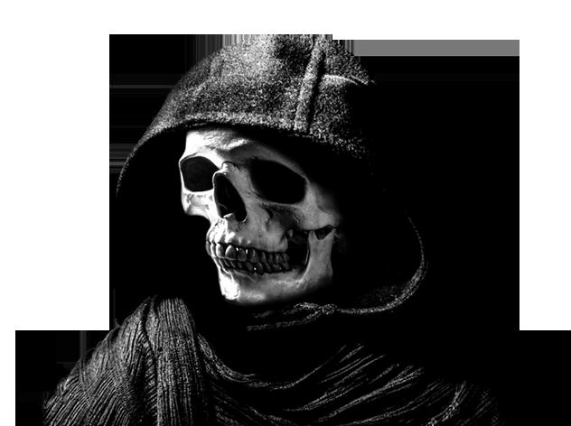head skull with hood