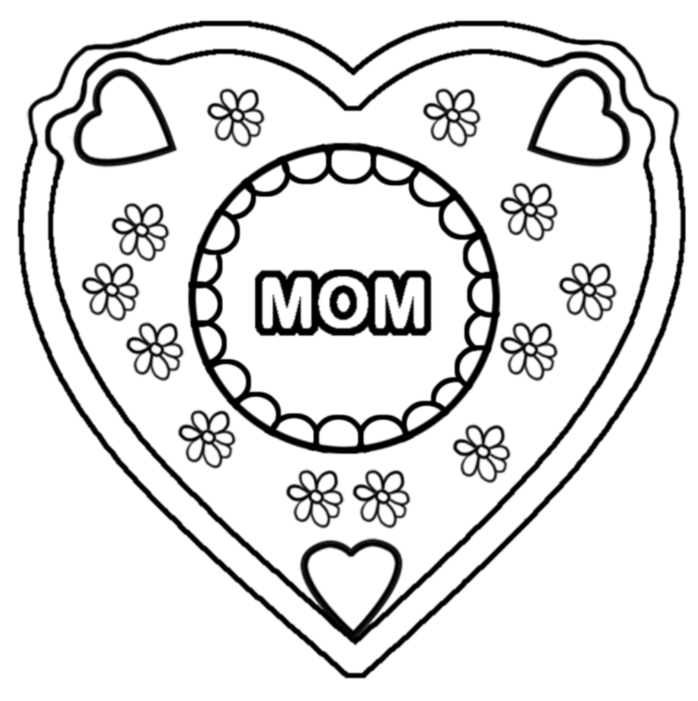 Mom coloring page with hearts and flowers
