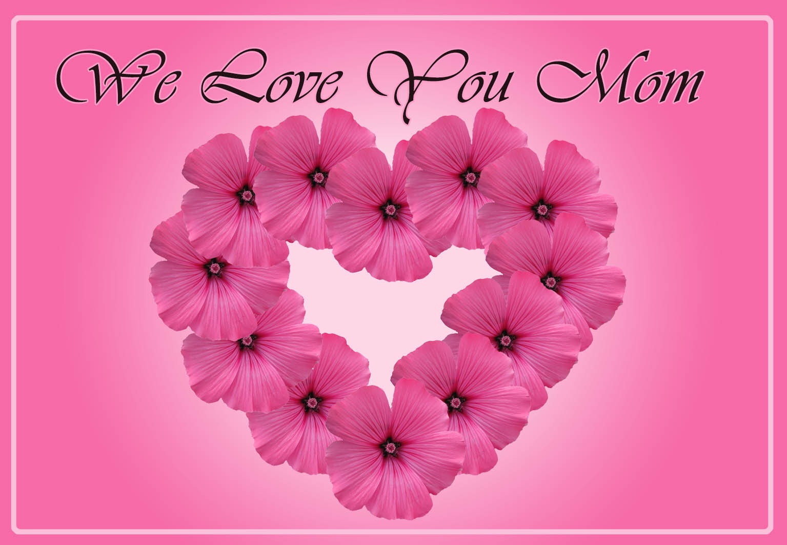 heart of pink flowers on Mother's Day