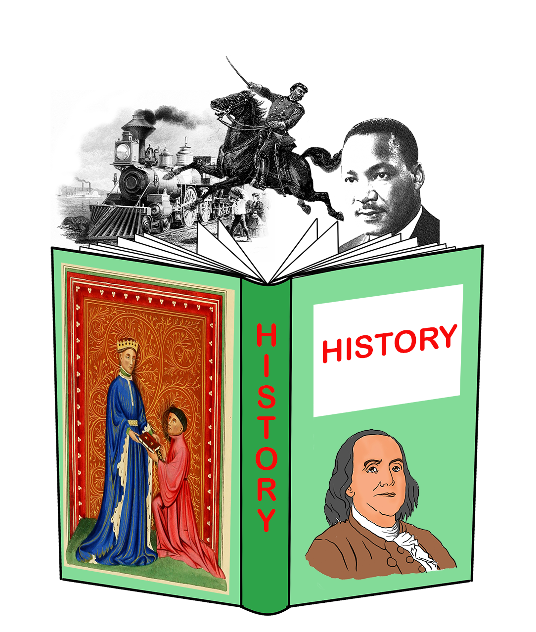open history book with pictures