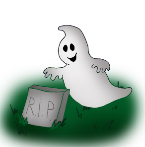 Halloween ghost with gravestone