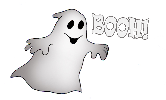 Halloween ghost says boooh