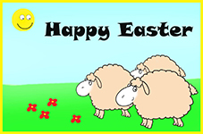 Funny printable Easter card with sheep