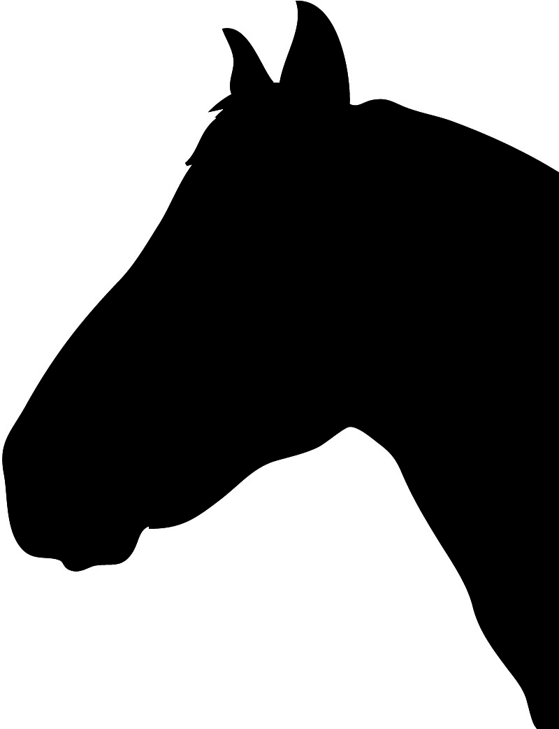 horse head silhouette black