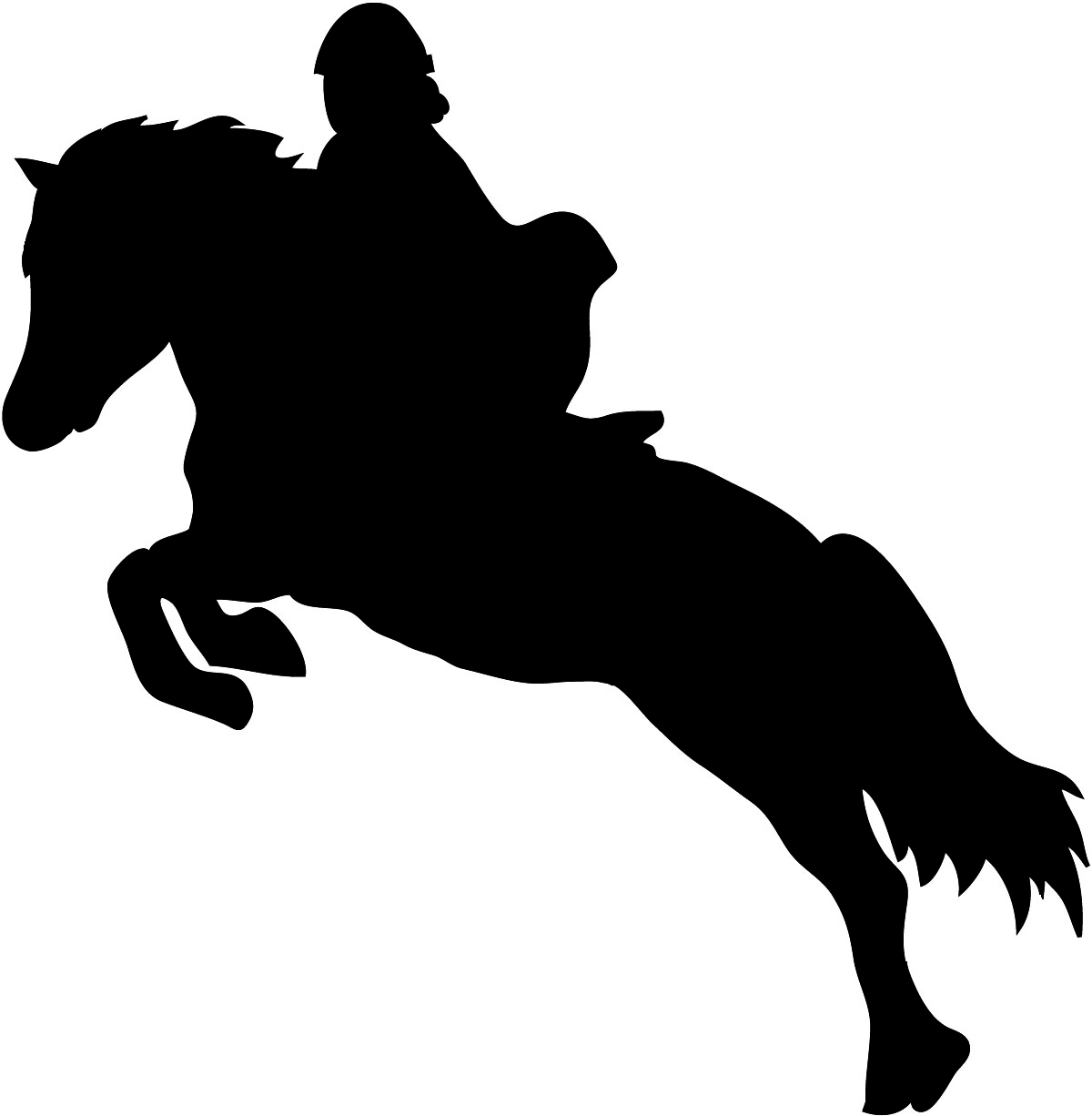 Show jumping horse silhouette with rider