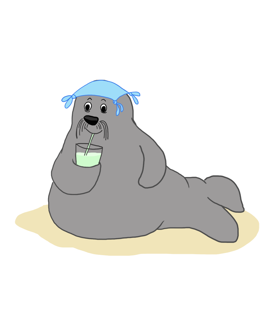 summer drawing of walrus on beach