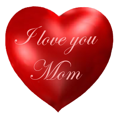 Red heart I love you Mom
