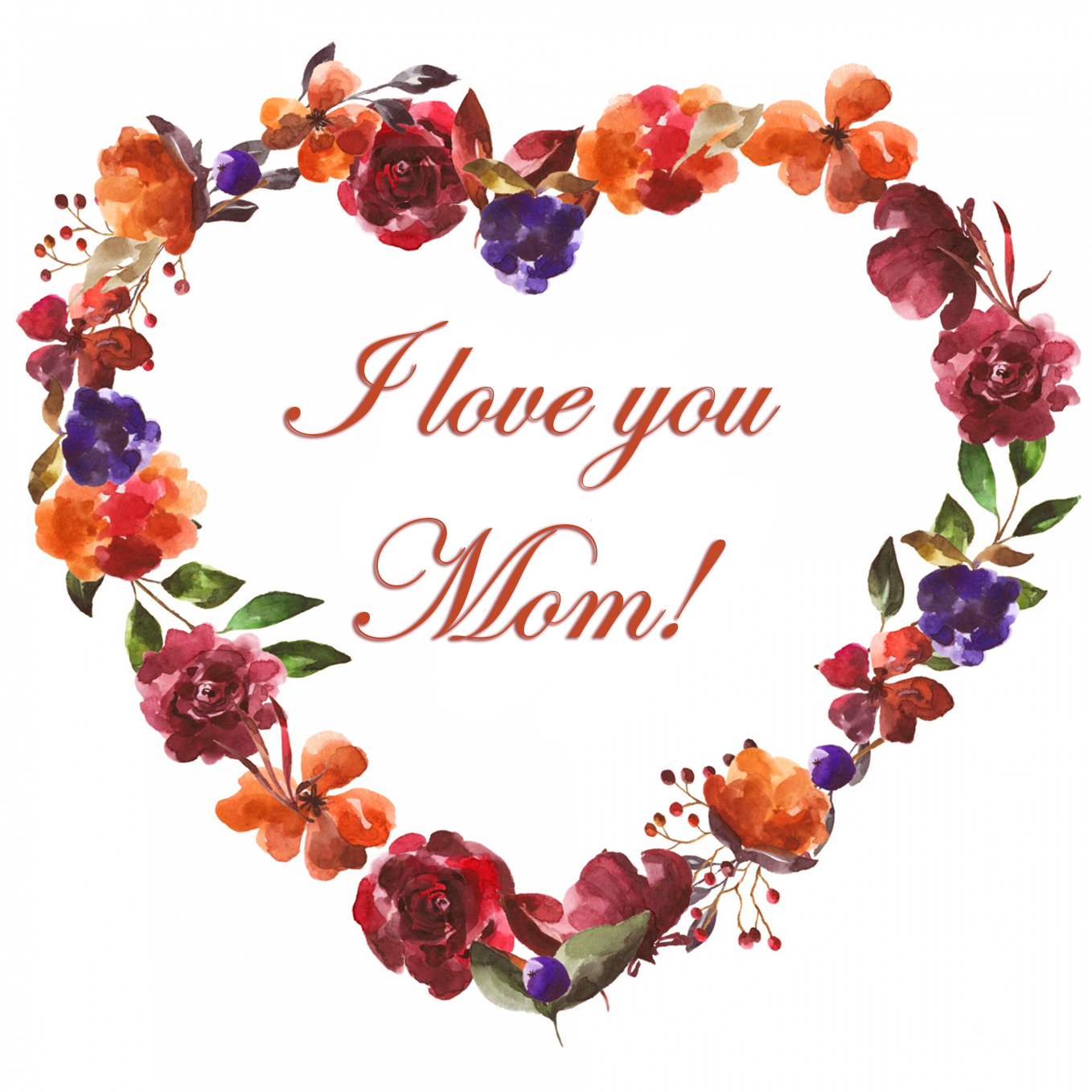 I love you Mom with flower heart