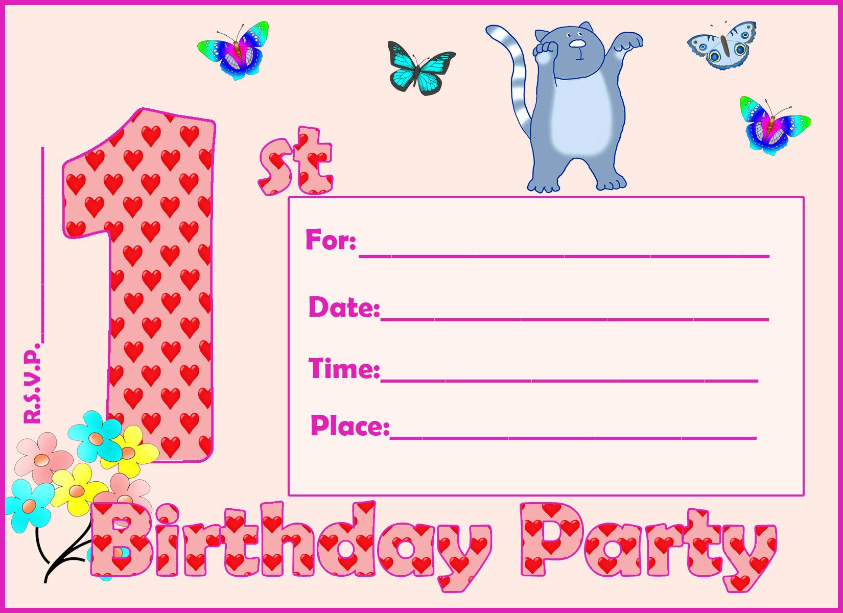 first birthday invitation girl
