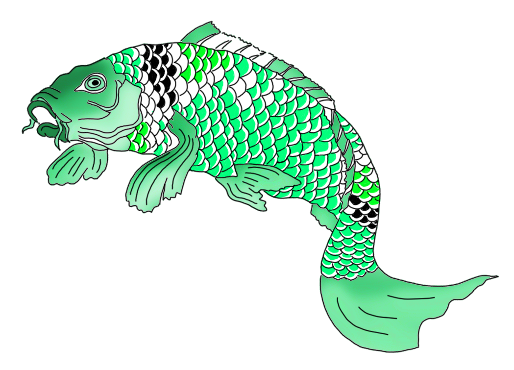 green Japanese koi fish clipart