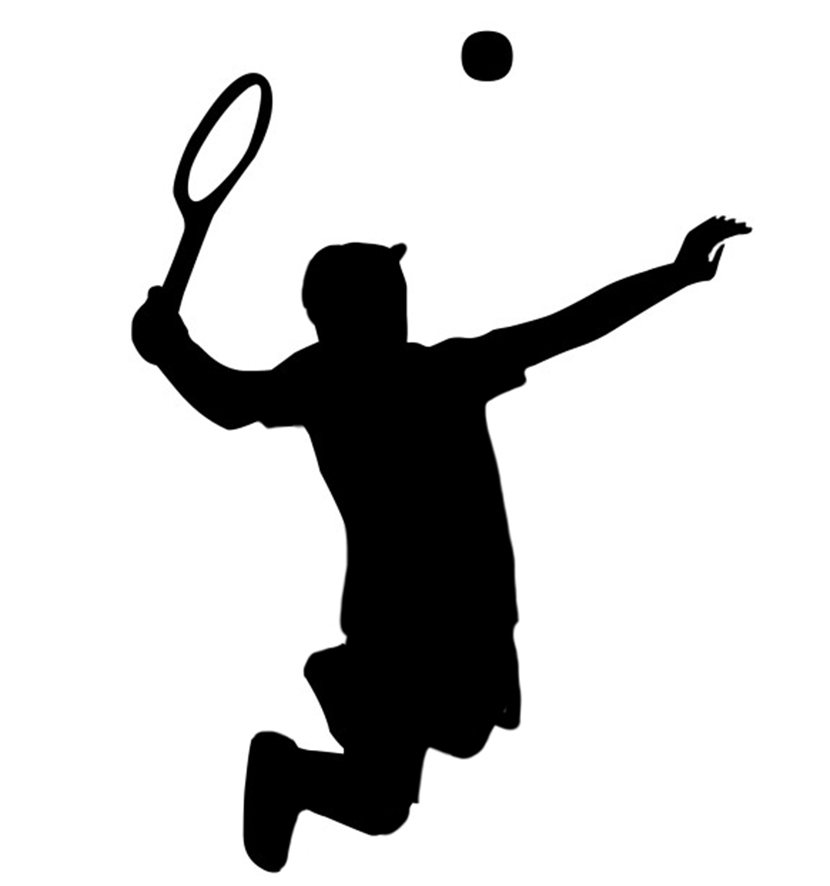 silhouette of jumping tennis player