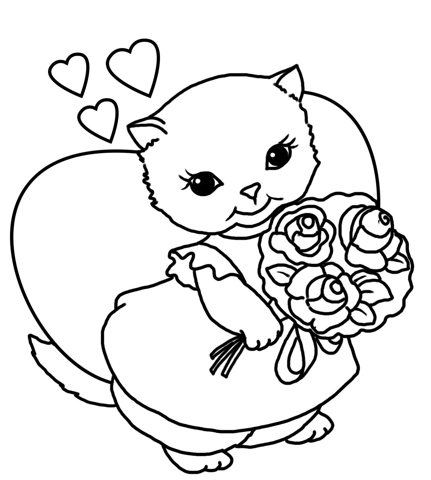 Girl and Kitty Valentine » Coloring Pages » Surfnetkids | 1579x1417