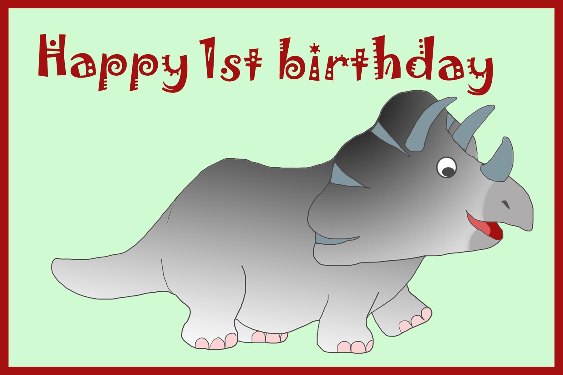 katmosaurus birthday card 1st birthday