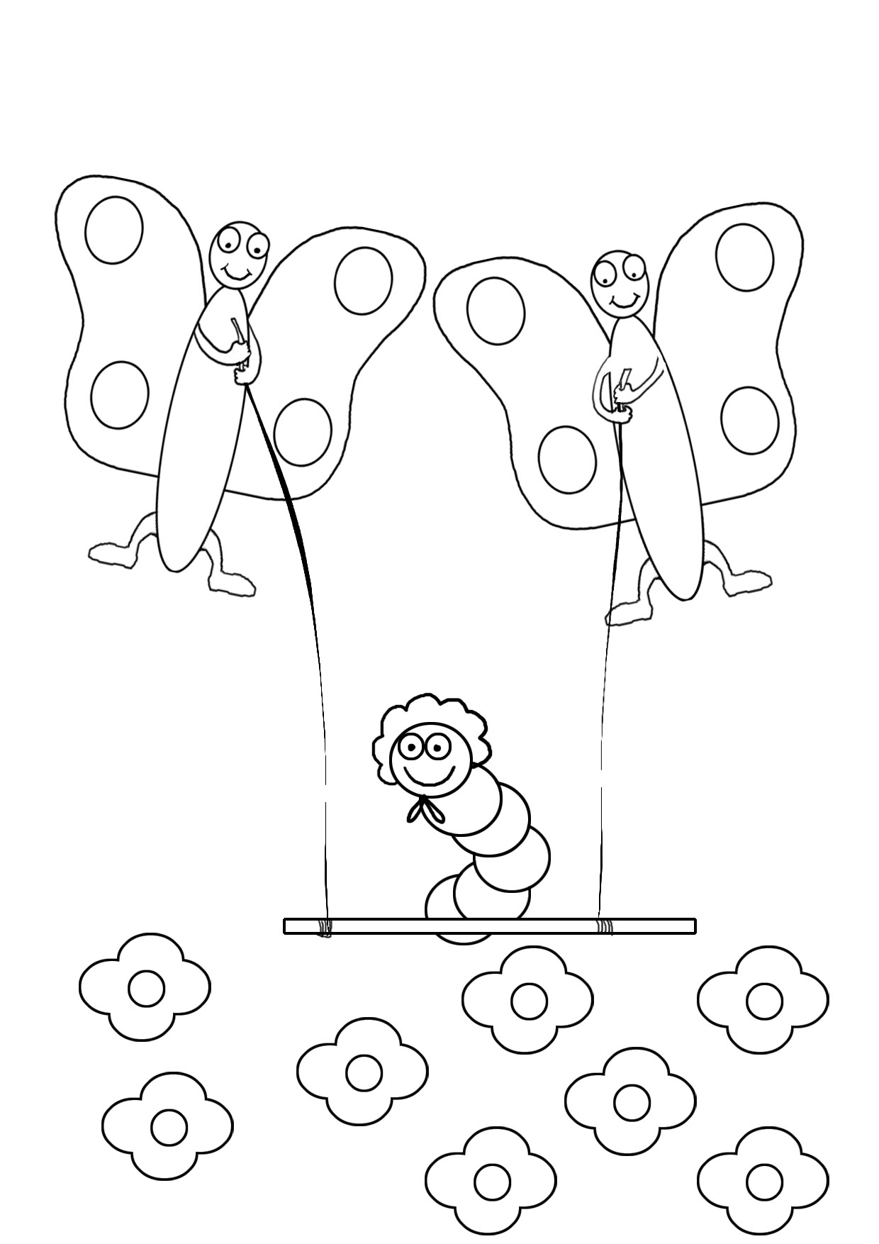 kids coloring page with butterflies