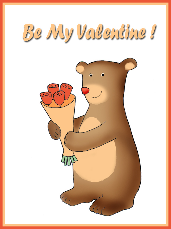 be my Valentine card for kids bear with flowers