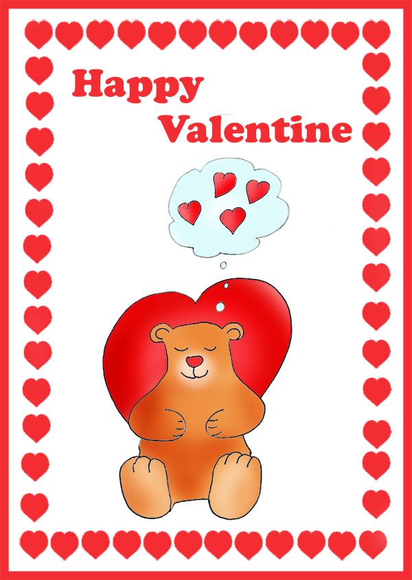 cute Valentine card for kids bear love hearts