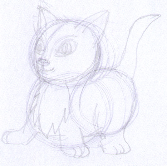 start of kitten drawing