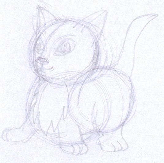 start of kitten drawing